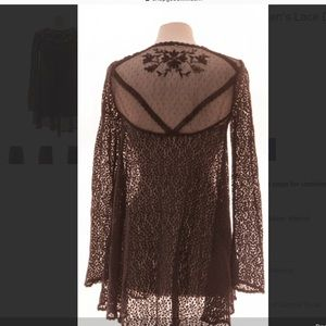 Free People Brown Lace Tunic Size S